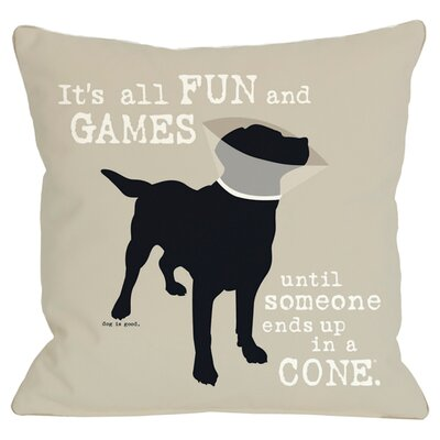 Doggy D�cor Its all Fun and Games Throw Pillow Size: 18 H x 18 W, Color: Oatmeal
