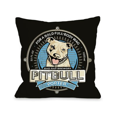 Doggy D�cor Pitbull Porter Throw Pillow Size: 16 H x 16 W
