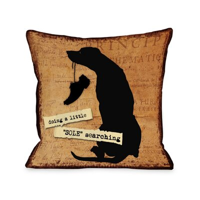 Doggy D�cor A Little Sole Searching Throw Pillow Size: 16 H x 16 W