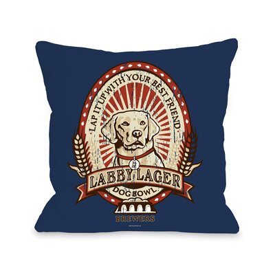 Doggy D�cor Labby Lager Throw Pillow Size: 26 H x 26 W