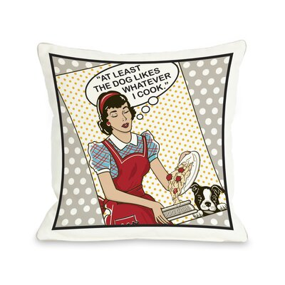 Doggy D�cor Dog Likes Food Throw Pillow Size: 18 H x 18 W