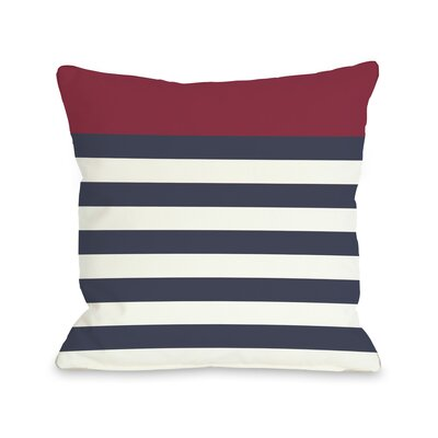 Nautical Stripes  Pillow Size: 16 H x 16 W, Color: Red