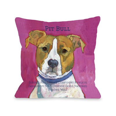 Doggy D�cor Pittbull2 Throw Pillow Size: 26 H x 26 W