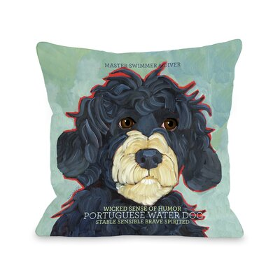 Doggy D�cor Portuguese Water Throw Pillow Size: 18 H x 18 W