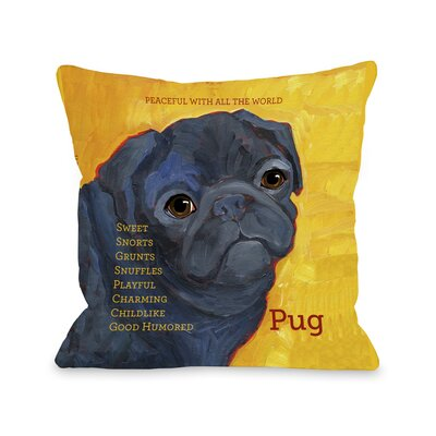 Doggy D�cor Pug Throw Pillow Size: 18 H x 18 W