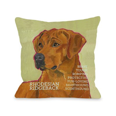 Doggy D�cor Rodesian Ridgeback Throw Pillow Size: 18 H x 18 W