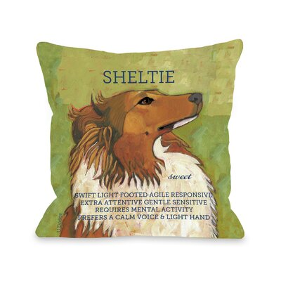 Doggy D�cor Sheltie Throw Pillow Size: 18