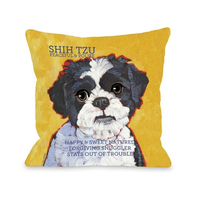 Doggy D�cor Shihtzu Throw Pillow Size: 16
