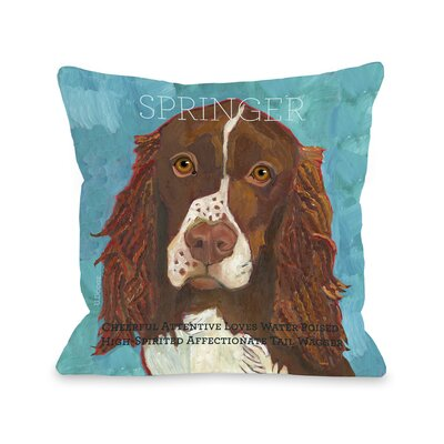 Doggy D�cor Springer Throw Pillow Size: 26 H x 26 W