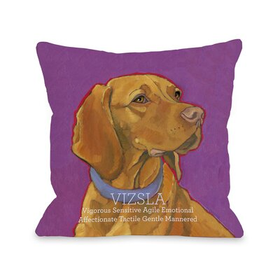 Doggy D�cor Vizsla Throw Pillow Size: 16 H x 16 W