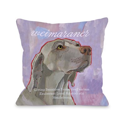 Doggy D�cor Weimaraner Throw Pillow Size: 16 H x 16 W