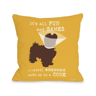 Doggy D�cor Fun and Games Throw Pillow Size: 26 H x 26 W