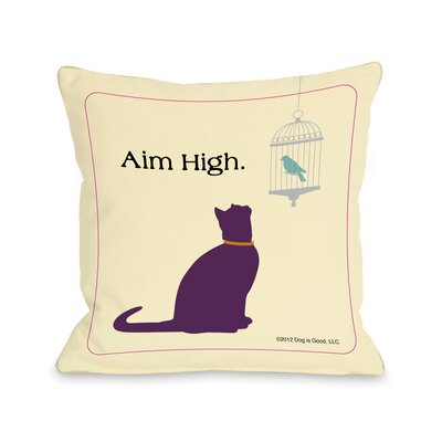 Doggy Decor Aim High Cat Fleece Throw Pillow Size: 18 x 18