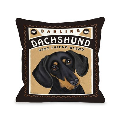 Darling Dachshund Throw Pillow Size: 26 H x 26 W x 6 D