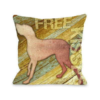 Doggy D�cor Free Kises Wood Throw Pillow Size: 18 H x 18 W