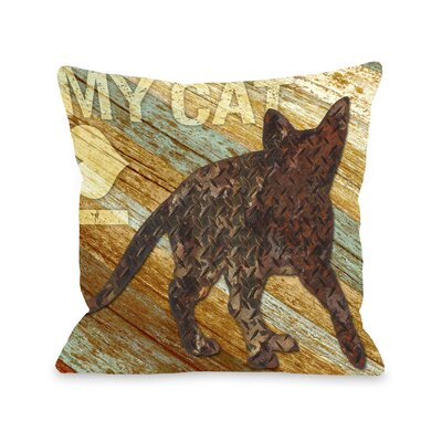 Doggy D�cor I love My Cat Wood Throw Pillow Size: 18 H x 18 W