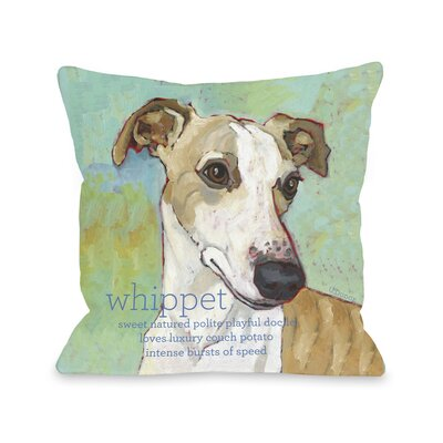 Doggy D�cor Whippet Throw Pillow Size: 26 H x 26 W