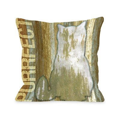 Doggy D�cor Purrfect Wood Throw Pillow Size: 26 H x 26 W