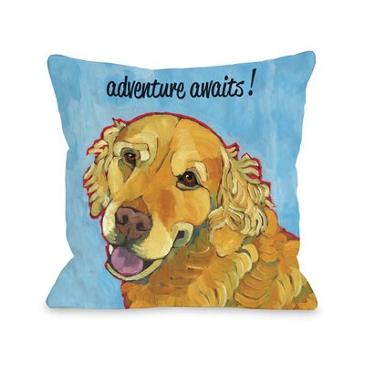 Doggy D�cor Adventure Awaits Throw Pillow