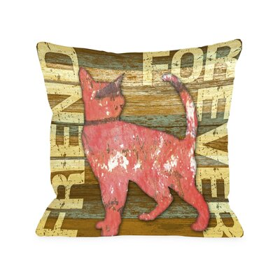 Doggy D�cor Friend Forever Wood Cat Throw Pillow Size: 20 H x 20 W