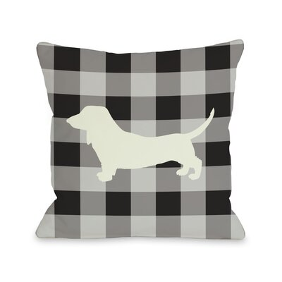 Doggy D�cor Gingham Silhouette Doxie Lumbar Pillow