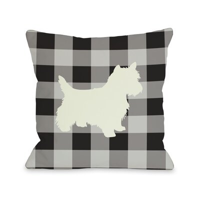 Doggy D�cor Gingham Silhouette Westie Throw Pillow