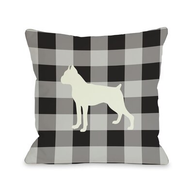 Doggy D�cor Gingham Silhouette Boxer Throw Pillow