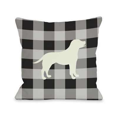 Doggy D�cor Gingham Silhouette Lab Throw Pillow