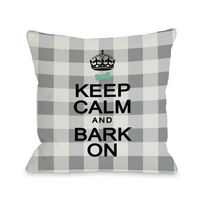 Doggy D�cor Keep Calm and Bark On Gingham Throw Pillow