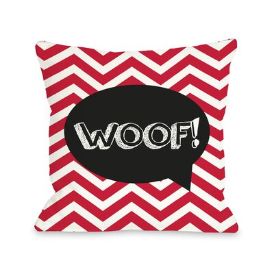 Doggy D�cor Chevron Woof Talk Bubble Throw Pillow Color: Red
