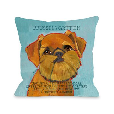 Doggy D�cor Brussels Griffon Throw Pillow Size: 16 H x 16 W