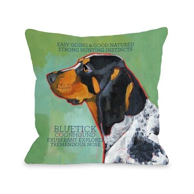 Doggy D�cor Bluetick Coonhound Throw Pillow Size: 18 H x 18 W