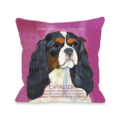 Doggy D�cor Cavalier Throw Pillow Size: 26 H x 26 W