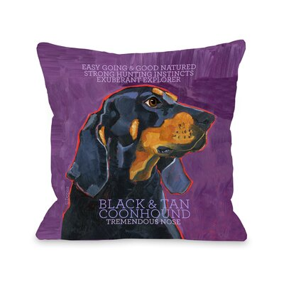 Doggy D�cor Coonhound Throw Pillow Size: 26 H x 26 W