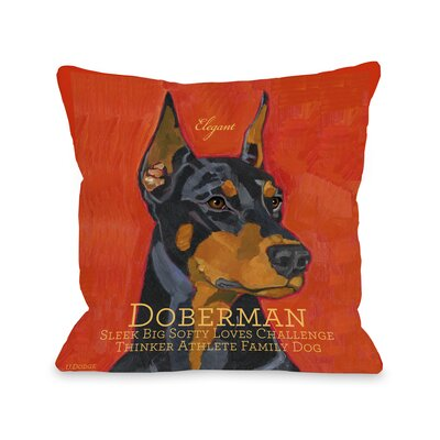 Doggy D�cor Doberman Throw Pillow Size: 16 H x 16 W