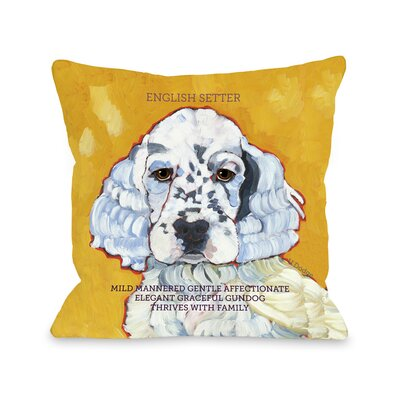 Doggy D�cor English Setter Throw Pillow Size: 18 H x 18 W