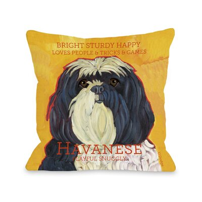 Doggy D�cor Havanese Throw Pillow Size: 26 H x 26 W