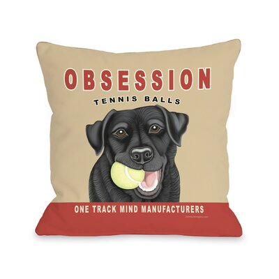Doggy D�cor Obsession Tennis Ball Throw Pillow Size: 18 H x 18 W