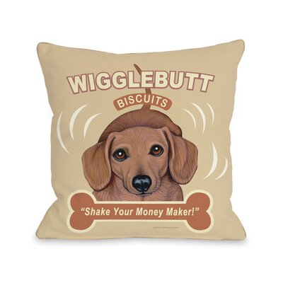 Doggy D�cor Wigglebutt Throw Pillow Size: 16 H x 16 W
