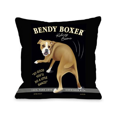 Bendy Boxer Throw Pillow Size: 18 H x 18 W x 3 D