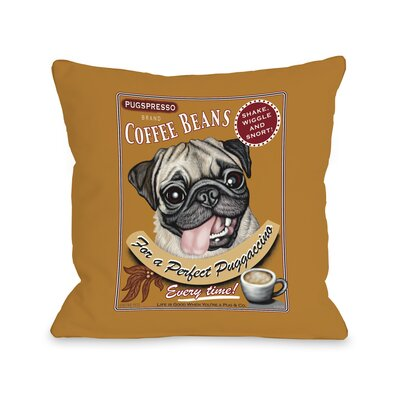Puggaccino Throw Pillow Size: 16 H x 16 W x 3 D