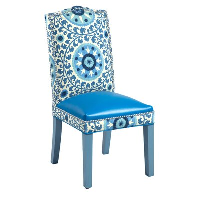 Gabrielle Cotton Parsons Chair (Set of 2) Upholstery: Blue Blue