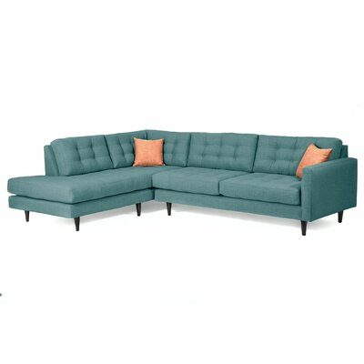 Mid-Century Sectional Upholstery: Teal, Orientation: Left