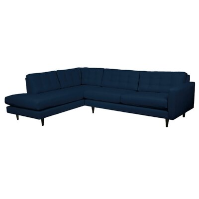 Mid-Century Sectional Upholstery: Navy, Orientation: Left
