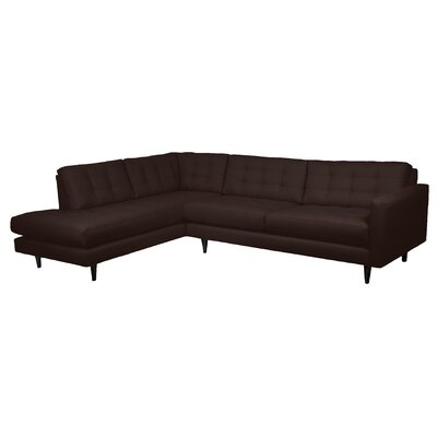 Mid-Century Sectional Upholstery: Navy, Orientation: Right