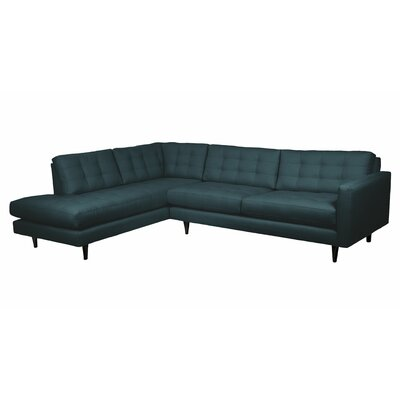 Mid-Century Sectional Body Fabric: Teal, Sectional Orientation: Right Hand Facing