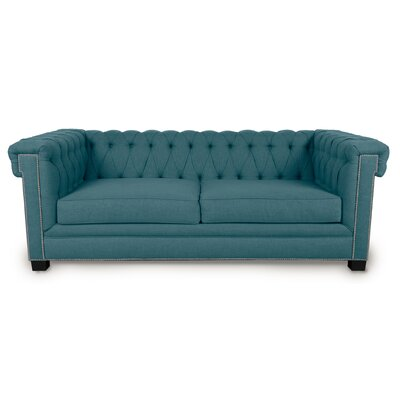 Foster Chesterfield Sofa Upholstery: Azure