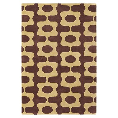Laugh Hand Tufted Wool Chocolate/Amber Area Rug Rug Size: 5 x 8