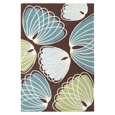 Lotus Hand Tufted Wool Chocolate/Cornflower Area Rug Rug Size: 8 x 10