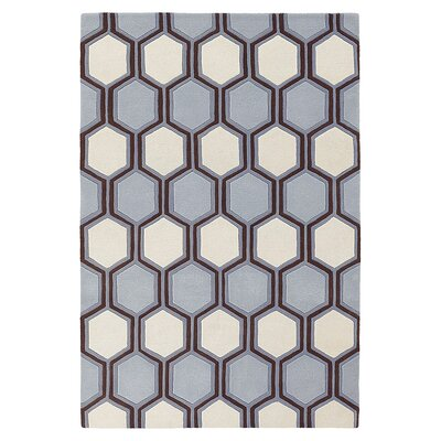 Plinko Hand Tufted Wool Gray/Ivory Area Rug Rug Size: 5 x 8